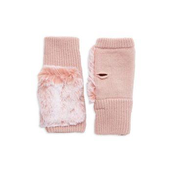 Texty Faux Fur & amp; Вязаные перчатки без пальцев JOCELYN