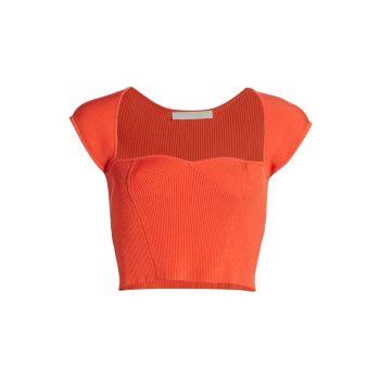 Укороченная футболка Abia Compact Rib Jonathan Simkhai