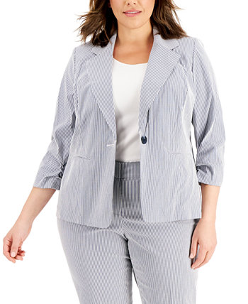 Plus Size Striped Chambray Jacket Kasper