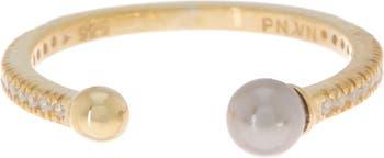 Открытое кольцо с серым пресноводным жемчугом Paige Novick
