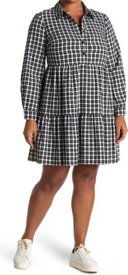 Платье-рубашка с принтом в хлопковую клетку Eliza J