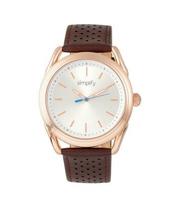 Quartz The 5900 Rose Gold Case, часы из натуральной коричневой кожи 43 мм Simplify