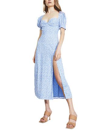 Платье миди с пышными рукавами и высоким разрезом Bardot