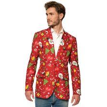 Мужской костюм Slim-Fit Christmas Tree Lights Light-Up Red Blazer Suitmeister