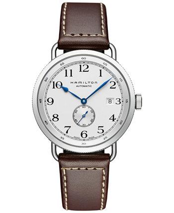 Мужские швейцарские автоматические часы цвета хаки темно-синего цвета Pioneer с коричневым кожаным ремешком из телячьей кожи 40 мм H78465553 Hamilton