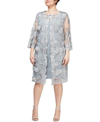 Платье-пиджак большого размера с вышивкой Alex Evenings