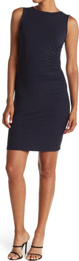 Ruched Sleeveless Solid Dress Tommy Hilfiger