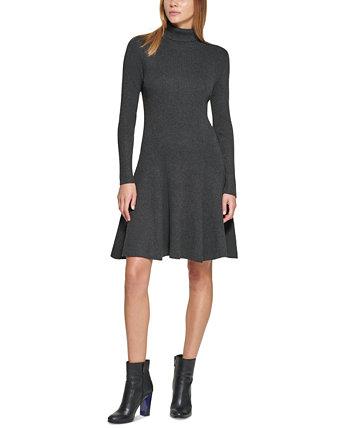 Платье-свитер с высоким воротом в рубчик большого размера Calvin Klein
