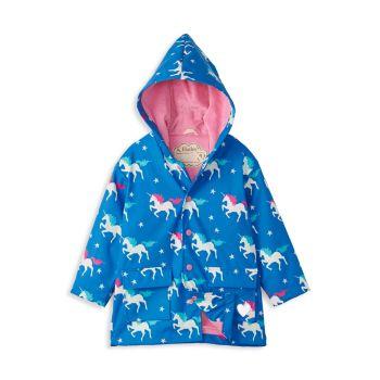 Little Girl's & Girl's Twinkle Unicorns Color-Changing Raincoat Hatley