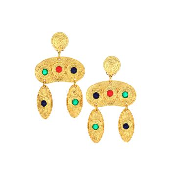 Satin 22K Goldplated & Multicolor Cabochon Double-Drop Clip-On Earrings Kenneth Jay Lane
