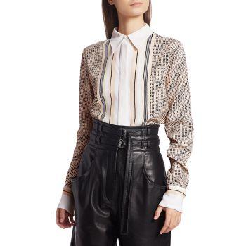 Блуза в полоску с принтом логотипа Proenza Schouler