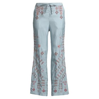Citalee Embroidered Flare Trousers Johnny Was