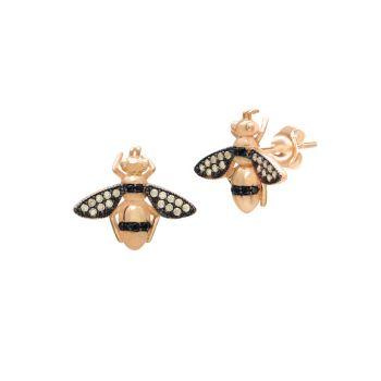 22-каратное золото Vermeil Yellow & amp; Серьги-гвоздики с медовой пчелой и черными кристаллами Gabi Rielle