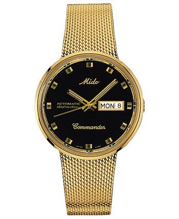 Мужские швейцарские часы Automatic Commander Classic с золотым PVD-покрытием из нержавеющей стали с сетчатым браслетом, 37 мм MIDO
