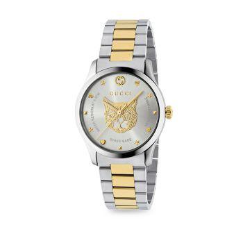 Нержавеющая сталь G-Timeless & amp; Часы-браслет с циферблатом тигра из желтого золота с PVD-покрытием GUCCI