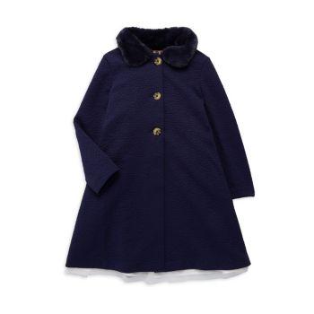 Двухкомпонентное пальто для маленьких девочек с воротником из искусственного меха & amp; Комплект платья Purple Rose