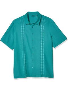 Рубашка с двухцветной геометрической вышивкой Cubavera