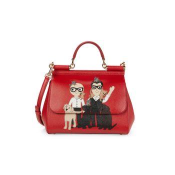 Кожаная сумка-портфель Sicily Designer с нашивкой DOLCE&GABBANA