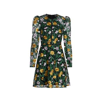 Floral Embroidered Puff-Sleeve Mesh Dress ML Monique Lhuillier