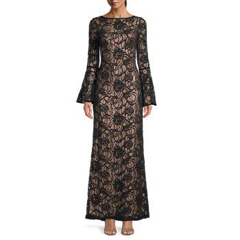 Кружевное платье с короткими рукавами Tadashi Shoji