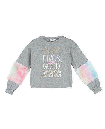 Пуловер с длинными рукавами из искусственного меха и трафаретным принтом для больших девочек Beautees