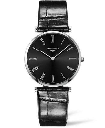 Женские швейцарские часы La Grande Classique De Longines с черным ремешком из кожи аллигатора, 36 мм Longines