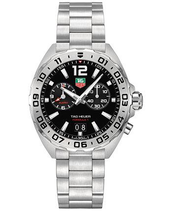 Мужские швейцарские часы с хронографом Formula 1 из нержавеющей стали с браслетом 41 мм TAG Heuer