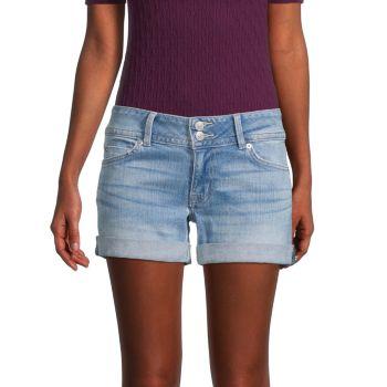Ruby Faded Folded Cuff Denim Shorts Hudson
