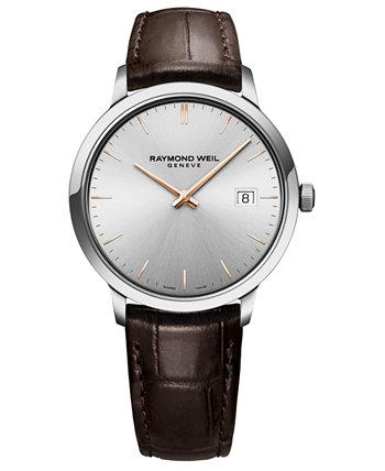 Мужские швейцарские часы Toccata Brown с кожаным ремешком 39мм Raymond Weil