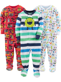 3-Pack Snug Fit Footed Cotton Pajamas (Toddler) Simple Joys by Carter's