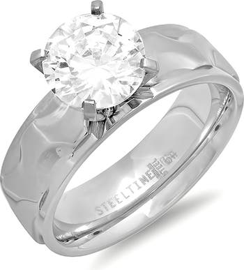 Кольцо-пасьянс CZ из нержавеющей стали HMY Jewelry