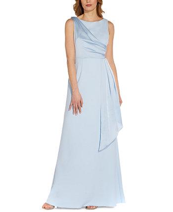 Атласное платье с драпировкой Adrianna Papell