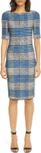 Трикотажное платье-футляр в клетку с лентами St. John Collection