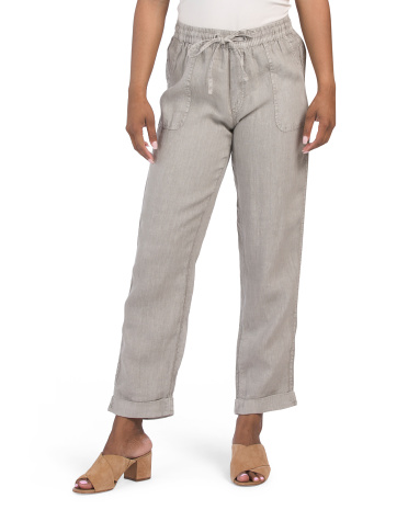 Linen Pigment Dyed Cropped Pull On Tapered Leg Pants Nicole Miller New York