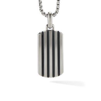 Классический кулон с усилителем бирки из стерлингового серебра со скошенным кабелем David Yurman