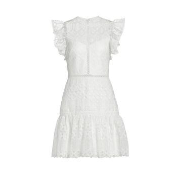 Кружевное мини-платье с короткими рукавами ML Monique Lhuillier