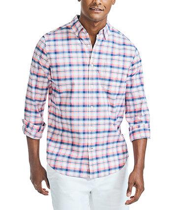 Мужская классическая рубашка в клетку из оксфорда на пуговицах Nautica
