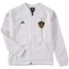 Youth adidas White LA Galaxy Crest Anthem Full-Zip Jacket Adidas