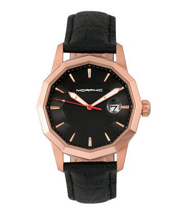 Серия M56, корпус из розового золота, часы с черным кожаным ремешком и датой, 42 мм Morphic