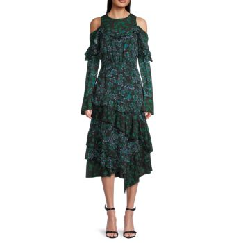 Шелковое платье с открытыми плечами и оборками Tanya Taylor