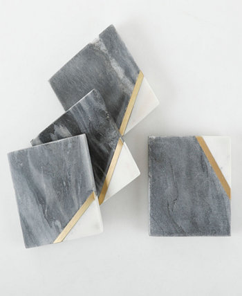 Laurie Gates Four piece marble coaster set Gibson