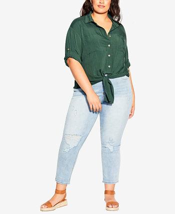 Trendy Plus Size Tropical Tie-Front Top City Chic