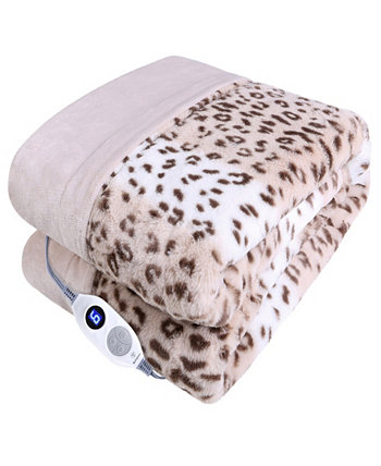 "Leopard Print Heated Throw in Flannel Rabbit Faux Fur, 50"" x 60"" Westinghouse"