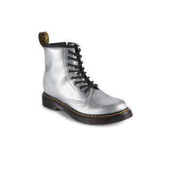 Серебряные армейские ботинки с тиснением под рептилии для девочек начальной школы 1460 Dr. Martens