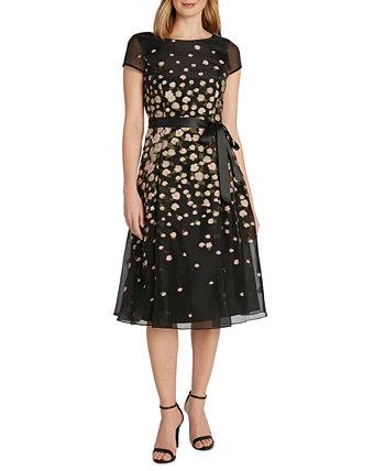 Жаккардовое платье с цветочным принтом и пышной юбкой Tahari by ASL