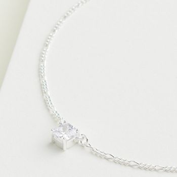 Elizabeth and James Sterling Silver Cushion Cubic Zirconia Solitaire Necklace Elizabeth and James