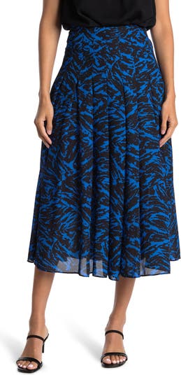 Zebra Print Pleated Midi Skirt Jason Wu