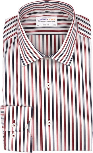 Классическая рубашка с эластичной отделкой в вертикальную полоску Lorenzo Uomo