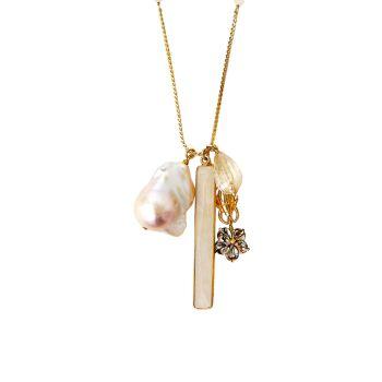 Покрытие 18K, жемчуг 17MM, Shell & amp; Длинное ожерелье с подвесками из смешанных камней Chan Luu