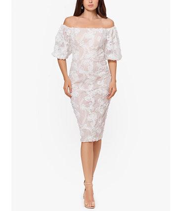 Кружевное платье-футляр с открытыми плечами XSCAPE
